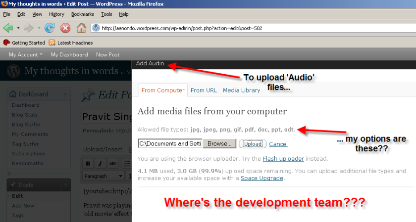 Upload Audio - WordPress